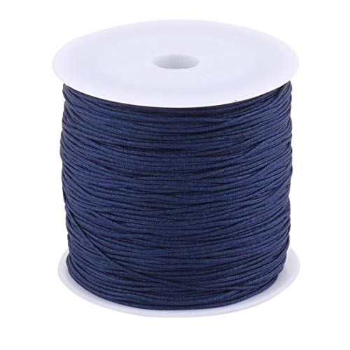 ZCHXD Nylon Home Chinese Knot DIY Handcraft Braided Cord String 0.8mm Dia 110 Yards Navy Blue - Knot Cord