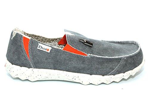 Dude Shoes Men's Farty Funk Steel/Orange Slip On / Mule Grey