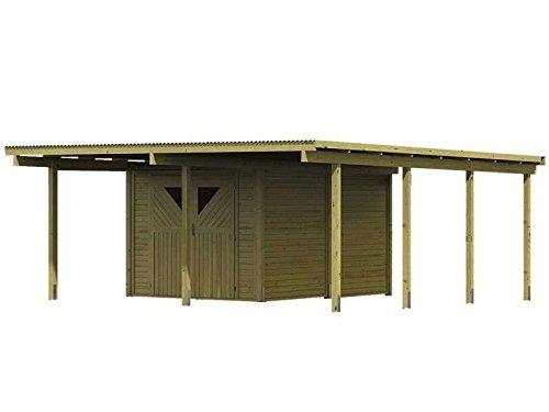Karibu Aktionscaport Doppel Eco 2 mit Abstellraum Außenmaß (B x T): 527 x 576 cm Dachstand (B x T): 563 x 676 cm Pfostenstärke: 9 x 9 cm umbauter Raum: 63,4 cbm Dachfläche: 38,25 qm Abstellraum: Größe 2 (387 x 268 cm) Sparset: inkl. Carport, Abstellraum,