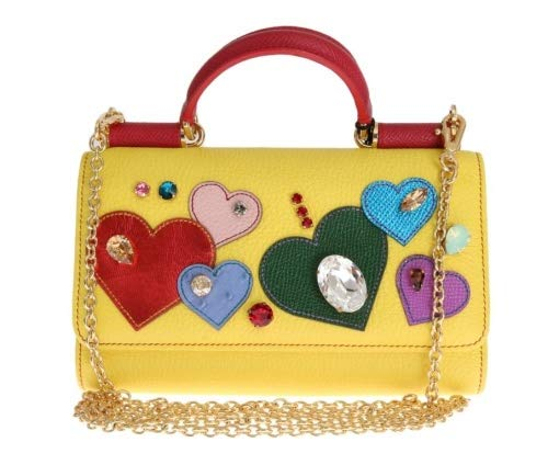 Dolce & Gabbana - Damen Tasche - Schultertasche - Leder - Gelb -Yellow Leather Crystal VON Bag