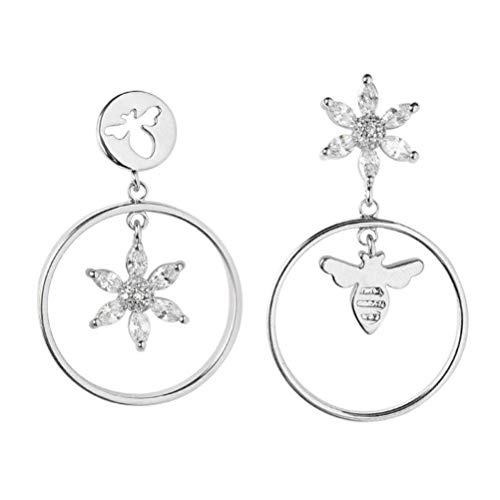 Bee And Fox S925 Sterling Silber Asymmetrische Blume Ohrringe Weibliches Temperament Korean Fashion Retro Kreis Biene Ohrringe Ohrringe, a