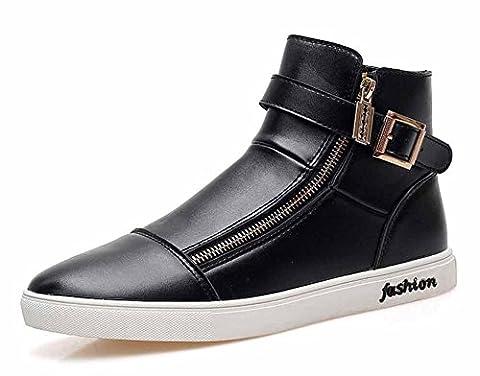 Hommes Hi-Top Sneakers Automne Chaussures Plates Décontractées Mode Zipper Skateboard Shoes Chaussures De Course À Pied ( Color : Black , Size : 41 )