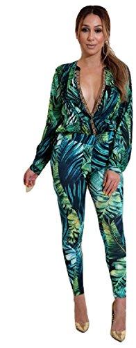 Neue Damen 2Stück grün Leaf Print Bluse & Pants Set Hosen-Anzug Party Clubwear Kleidung Größe XL UK 14–16EU 42–44 (Zwei Stück Hosenanzug)