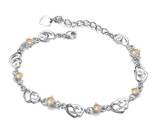 Andonger Dell'oro bianco 18K del cuore della catena d'Amore Giallo Cristallo Bracciale