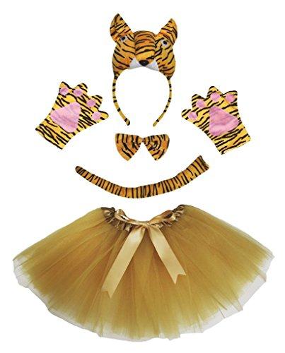 Petitebelle 3D-Tiger-Stirnband Bowtie Schwanz Glove Rock 5pc Partei-Kostüm für Mädchen Einheitsgröße Braun