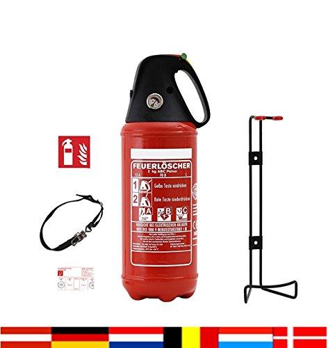 Preisvergleich Produktbild Auto Feuerlöscher 2kg ABC Pulver Auto-Feuerlöscher schwarze Kappe sehr handlich mit KFZ Halter, ISO Symbolschild + ANDRIS® Prüfnachweis mit Jahresmarke