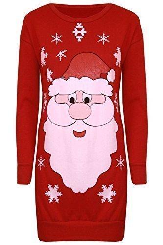 Damen Weihnachten Pom Pom Schneemann Karotten Nase Roter Hut Schalldämpfer Schneeflocken Bedruckt Gestrickt Sweatshirt Winter Fleece Pullover Gestrickt Kleider - Santa Gesicht Rot, 36/38