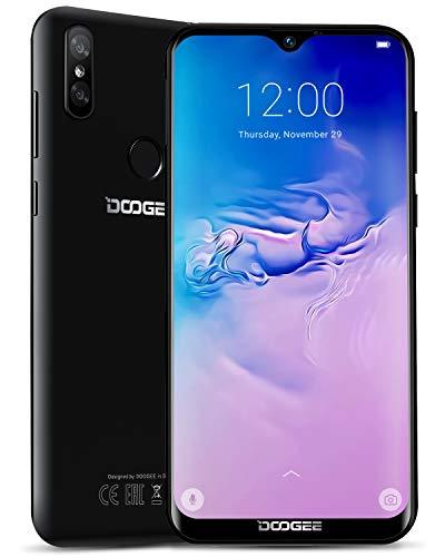 DOOGEE Y8 4G Telefono Movil Libres, Android 9.0 Smartphones Libres Dual Sim, 3GB RAM 32GB ROM 19:9 Pantalla 6.1'', 3400mAh Cámara Trasera Doble 8+5MP, Face ID + Huella Digital, Negro