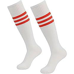 Da Wa moda mujeres rodillera calcetines rayas largo calcetines hombres deportes fútbol calcetines niñas Danza medias, blanco y rojo