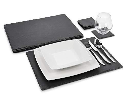 Sänger Schieferplatten Set \'Dinner\' 8 teilig | Komplettes Platzset aus Schiefer mit Untersetztern | 40x30 cm und 10x10 cm | Naturstein Platten für Das etwas andere servieren