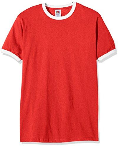 Fruit of the Loom Herren T-Shirt Ss040m Rot (Rot/Weiß)
