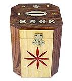 #8: UniqueKrafts® Wooden Handmade Money Bank Octagonal Shaped with Red Cutter Flower Chess Mix Design