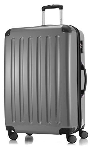 HAUPTSTADTKOFFER - Alex - NEU 4 Doppel-Rollen Großer Hartschalen-Koffer Koffer Trolley Rollkoffer Reisekoffer, TSA, 75 cm, 119 Liter, Silber