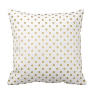 Sweet grape Decorative Cotton Small Polka Dots Pattern Gold and White Pillow 18