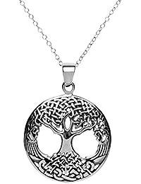 81stgeneration Frauen Männer 925 Sterlingsilber Keltischer Baum des Lebens Anhänger-Halskette, 46 cm