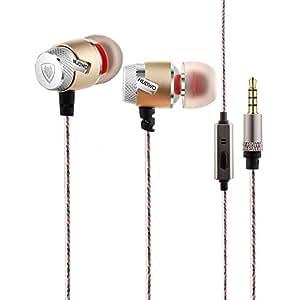 Nubwo NJ-219 in-ear auricolare con microfono per telefono cellulare, Auricolari cablati Bass auricolari Sport esecuzione-Oro