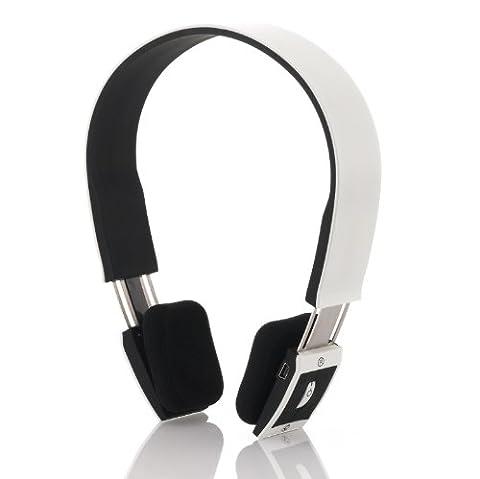 deleyCON Bluetooth Headset Kopfhörer Ohrhörer Sport - [Weiß] - Stereo - verstellbare Größe - für Handy, PC, Tablet, Ipad, iPhone, Smartphone, Apple Mac Book uvm.