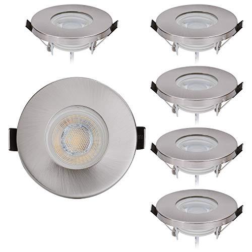 Lot de 6 spots LED encastrables protection IP44 de chrome avec module LED Spot 230V/5W - Blanc chaud 3000K - pour pièces humides/salle de bains,55mm trous
