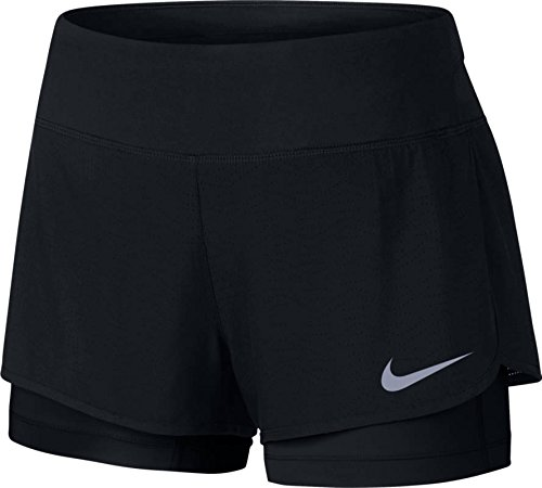Nike Damen W NK Flex 2IN1 Short Rival 2-in-1-Laufshorts, Schwarz/Schwarz, XL (Dri-fit-mesh-shorts)