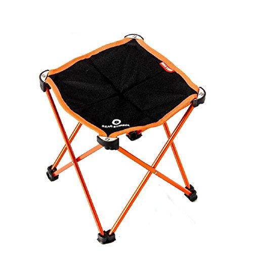 TRIWONDER Tragbare Camping Hocker, Outdoor Klappstuhl Slacker Stuhl für Camping Backpacking Wandern Angeln Reisen Garten BBQ mit Trage Sack (Orange) (Reise-stuhl Camping Klappstuhl)