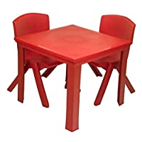 Toddler Children kids Plastic Table and 2 Chairs Set for Study Activity Indoor or Outdoor Use