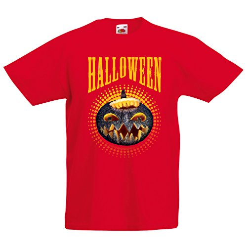 Kinder T-Shirt Halloween Kürbis - Party Kostüm Ideen 2017 (12-13 years Rot Mehrfarben)