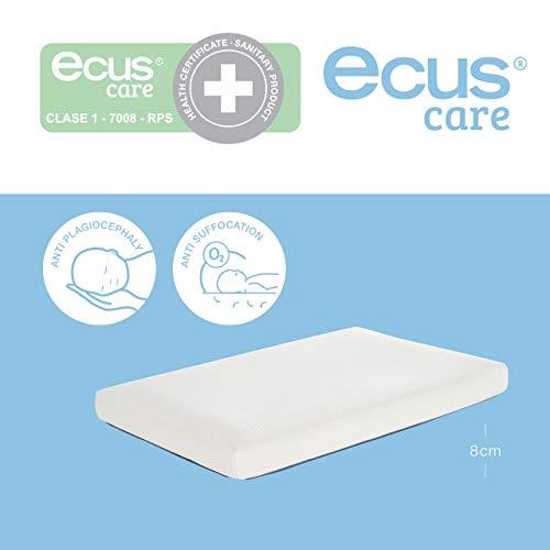Ecus Care, 80cm x 50cm, colchón minicuna anti plagiocefalia