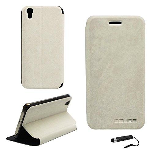 Tasche für UMIDIGI London Hülle, Ycloud PU Ledertasche Metal Smartphone Flip Cover Case Handyhülle mit Stand Function Weiß