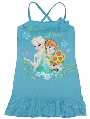 Disney 'Frozen Elsa und Anna Sonnenblumen Kleid gekreuzten Trägern A Kordel Sister Love Offizielles Neuheit 125147, himmelblau