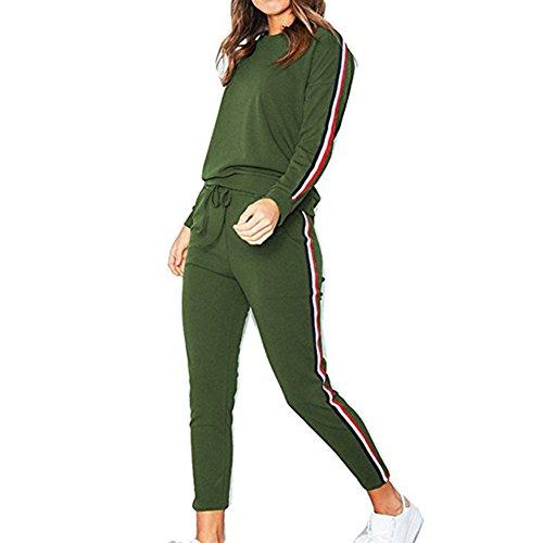 ng Frauen Jogginganzüge Langen Ärmeln 2 Stücke Sport Sets Herbst Sportkleidung Striped-Seiten Sweatshirt + Hosen ()