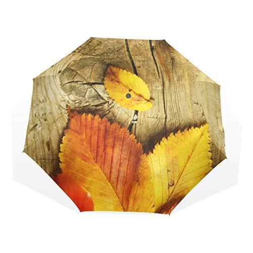 XiangHeFu Regenschirm Herbstblätter über Holz gelb automatisches Öffnen 3 Falten, leicht, UV-Schutz - Gelbe Sand-holz Ständer