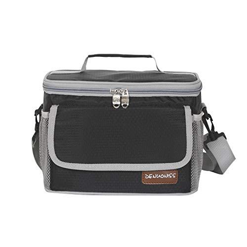 ZVLPE Große isolierte kalte Tasche, stilvolle wasserdichte Isolierte Lunchpacke Portable Single Shoulder Bag Lunchpaket Synthetische Person/Männer/Frauen/Kinder, schwarz -