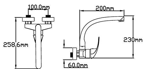 DP Grifería GPA001 Grifo monomando de pared alto tubo Manzanilla (11 cm), Plateado