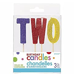 Glitter Multicolor Two Birthday Toothpick Candle Set 3pc
