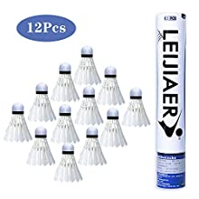 KANOSON Badminton Shuttlecocks 12 Pcs, White Fast Feather Shuttlecocks Balls with Stability & Durability, High Speed Feather Badminton Shuttle Idea for Indoor Outdoor Game