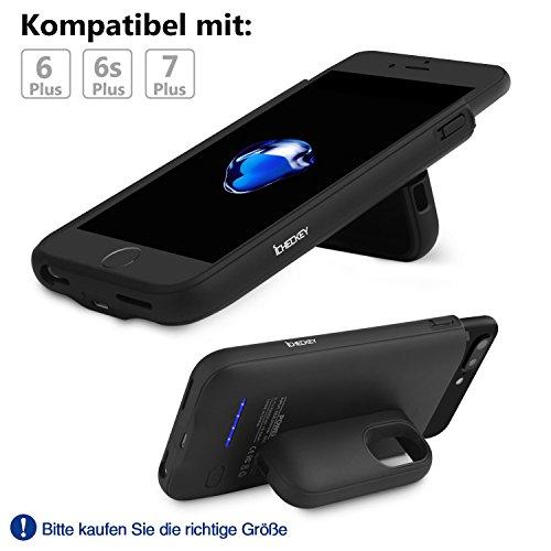 ICHECKEY 4200mAh Akku Hülle für iPhone 6 Plus/iPhone 6s Plus/iPhone 7 Plus/iPhone 8 Plus Ladehülle Smart Power Case Magnet Akkucase Lithium-Polymer Dünne Batterie Hülle Battery Case (Schwarz) Schwarz