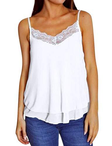 DRESSWEL Damen Spitzenbesatz Leibchen V-Ausschnitt Spaghettibügel Hemd ausgestellte Swing Weste Tank Top ärmelloses Oberteile - Weiße Spitzenbesatz Leibchen