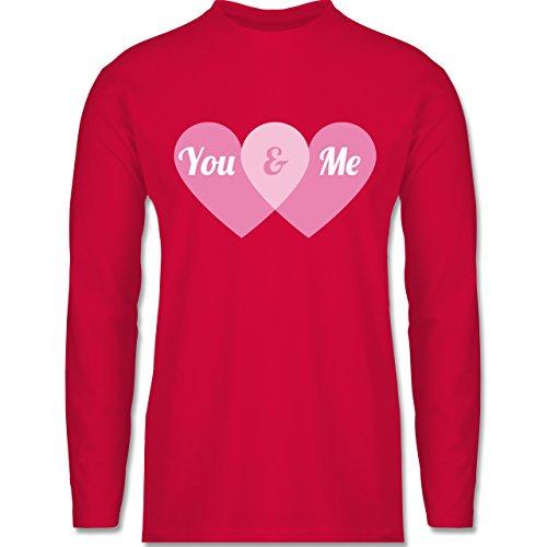 Shirtracer Romantisch - You & Me Herzen - Herren Langarmshirt Rot