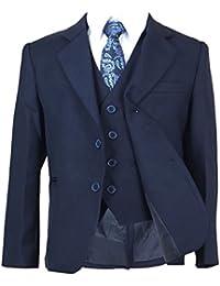 Italiano Cortar 5 piezas de niño azul marino Suit, Página Niño boda graduación comunión de Niño Trajes
