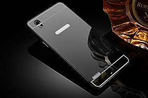 nKarta (TM) Branded Luxury Metal Bumper Acrylic PC Mirror Back Mobile Cove Case For Oppo Mirror 5 A51T - Black