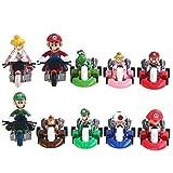 EASTVAPS 10pcs/lot Super Mario Bros Kart Pull Back Voiture Moto PVC Action Figurine Jouets