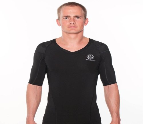 IntelliSkin-Mens-Posturecue-V-Neck-Tee-Black-X-Large