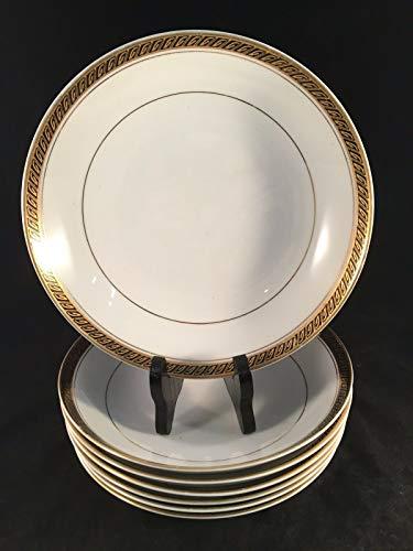 Goldfarbene Linda Japan Schüsseln, feines Porzellan, 19 x 3,8 cm, 7 Stück