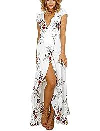 94e1861ac5a Luojida Femme Robe de Plage Bohême Longue Floral Ete Sexy Bas Irrégulière  Plissée Style Epaule Nu