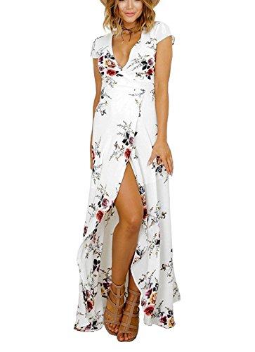 Luojida Femme Robe de Plage Bohême Longue Floral Ete Sexy Bas Irrégulière Plissée Style Epaule Nu Col Beatou (M, Blanc -3)