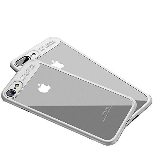 """iPhone 7 Coque , SHANGRUN Doux TPU Silicone Bumper + Transparent Dur PC Matériel Couvercle housse Etui Protection Case pour iPhone 7 4.7"""" Blanc Blanc"""