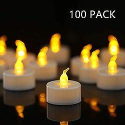 HANZIM Lot de 100 Bougie LED à Piles avec Flamme Vacillante, Décoration pour Table Fête Party Anniversaire Mariage