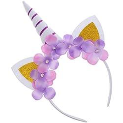 MagiDeal Diadema de Forma Cuerno de Unicornio Floral Orejas Niñas Traje Diadema Disfraces Cosplay Cumpleaños Baby Shower