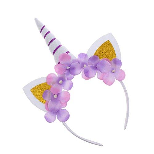 Homyl Lila Einhorn Stirnband Horn Blume Haarreif Haarband Kopfschmuck Weihnachten Halloween Deko