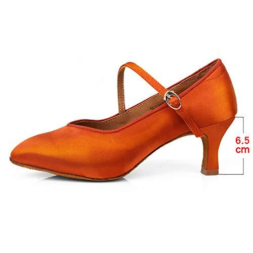 Standard und Latein Tanzschuhe Damen - Tango Jazz Ballsaal Irish Modern Pole Dancing Soft Außensohle,Orange(Heel:6.5cm),36EU